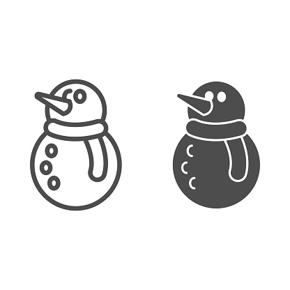 Snowman line and solid icon, Christmas and New Year concept, snow man with scarf, carrot sign on white background, winter fun icon in outline style for mobile concept and web design. Vector graphics.