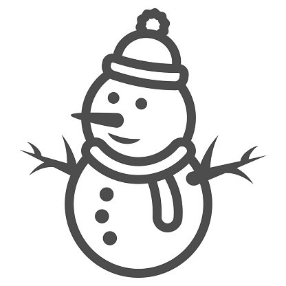 Snowman line icon, World snow day concept, Snow Man sign on white background, Snowy snowman in hat and scarf icon in outline style for mobile concept and web design. Vector graphics.
