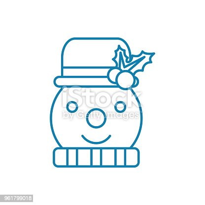 Snowman Linear Icon Concept Snowman Line Vector Sign Symbol