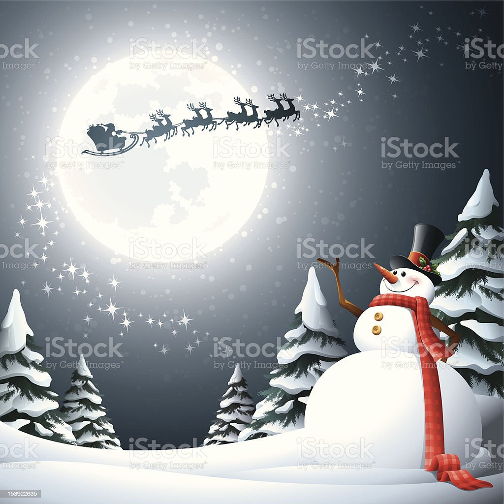 A snowman looking up to the moon as Santa Clause passes by royalty-free stock vector art