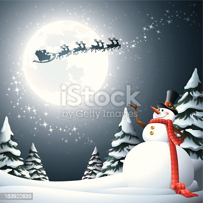 istock A snowman looking up to the moon as Santa Clause passes by 153922635