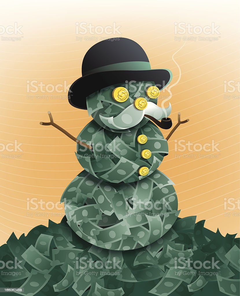 Snowman Made of Money royalty-free stock vector art