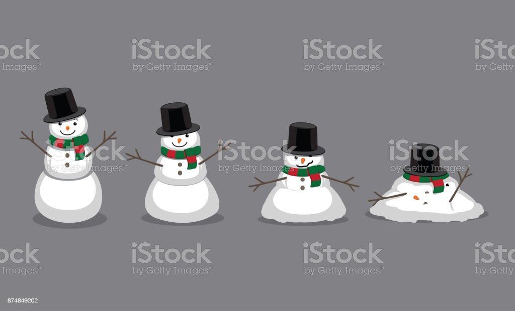 Bonhomme de neige fondante Cartoon Illustration vectorielle - Illustration vectorielle