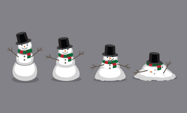 Snowman Melting Cartoon Vector Illustration Cartoon Characters EPS10 File Format snowman stock illustrations