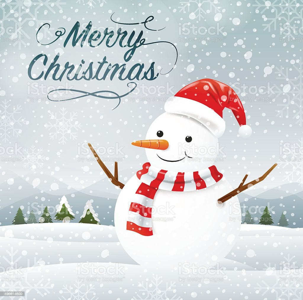 snowman, merry christmas vector art illustration