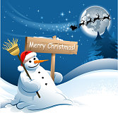 drawn of vector snowman message.