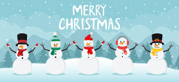Snowman on christmas winter background. Cute characters snowmans collection in scarf and top hat. vector art illustration