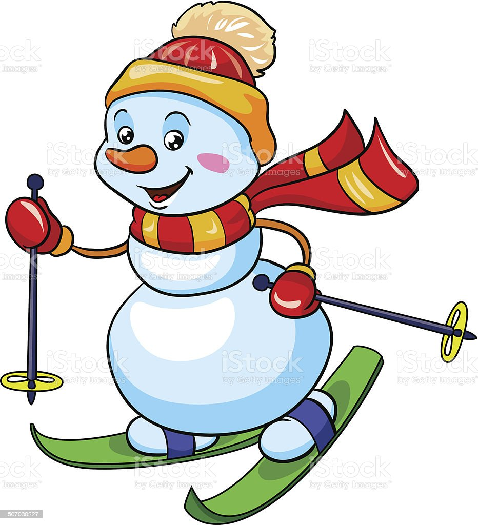 snowman on skis, vector illustration on white background royalty-free stock vector art