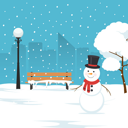 Snowman, park bench and trees covered by snow. Winter landscape in city park. Christmas background.