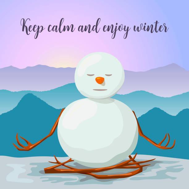 schneemann, friedlich und entspannt. lotus yogastellung. sonnenaufgang im winterberge - karotte peace stock-grafiken, -clipart, -cartoons und -symbole