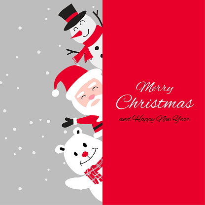 Snowman polar bear and santa cluas are happy emotion with Christmas invitation card design