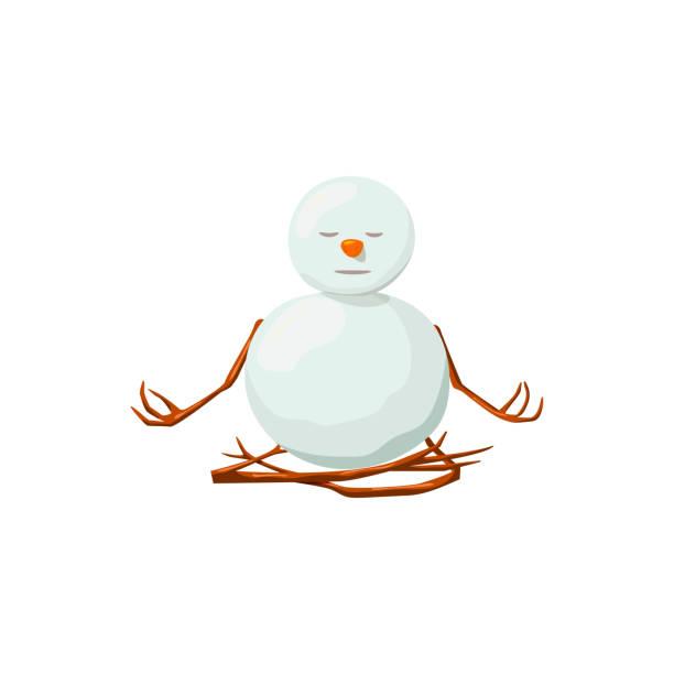 schneemann. kostbare frostig, gnädig, aufgeklärten, freundlich, schielen, yoga - karotte peace stock-grafiken, -clipart, -cartoons und -symbole