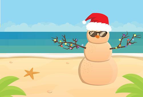 Snowman Santa Claus on a sandy tropical beach