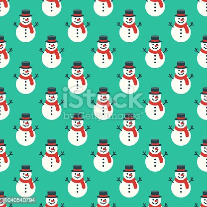 istock Snowman Seamless Pattern 1040540794