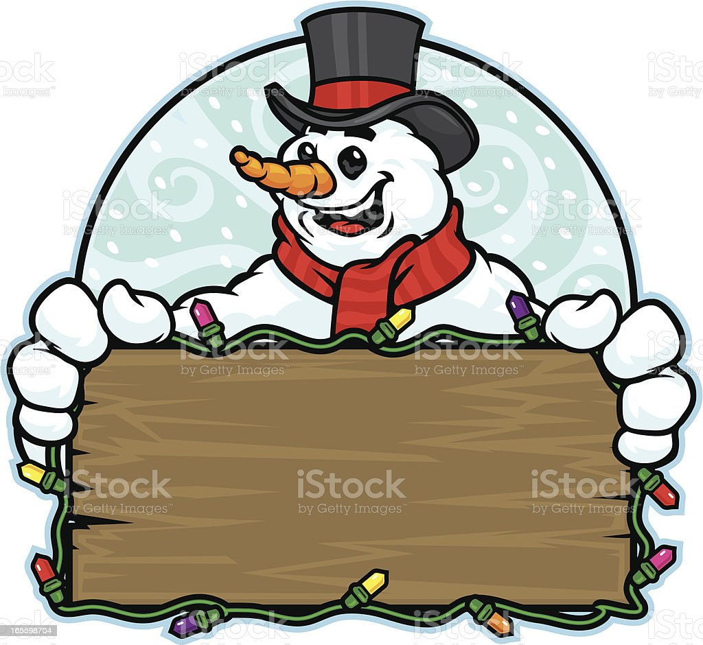Snowman Sign royalty-free snowman sign stock vector art & more images of cartoon