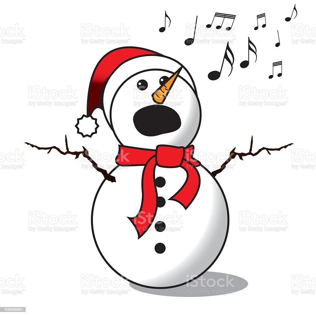 Snowman singing -choir vector art illustration