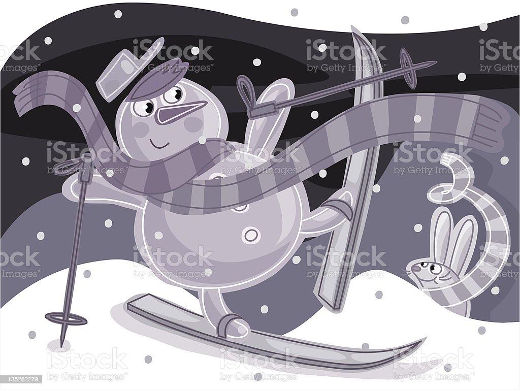 Snowman skiing vector art illustration