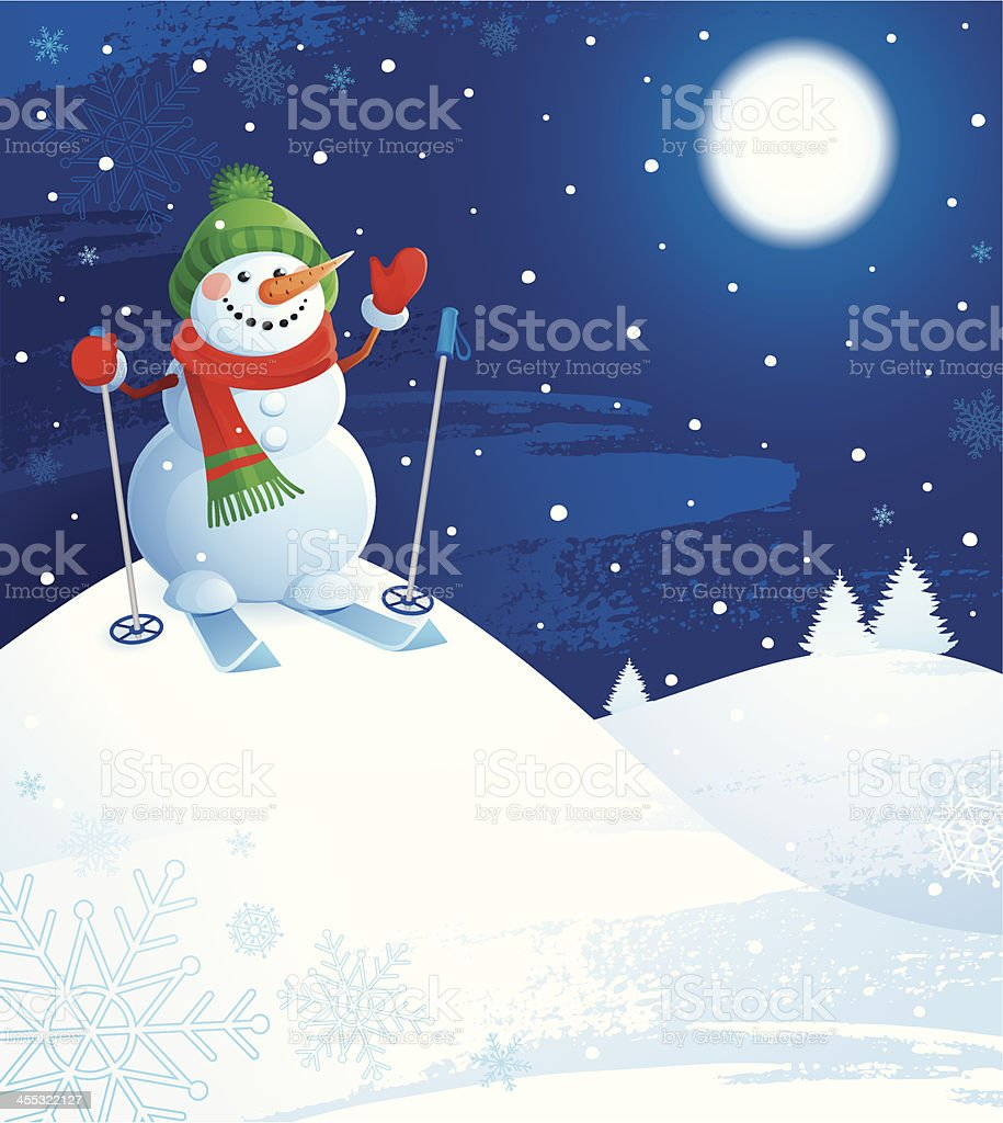 Snowman Skiing royalty-free stock vector art