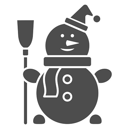 Snowman solid icon, New Year concept, Snow man sign on white background, Happy winter snowman with hat and scarf icon in glyph style for mobile concept and web design. Vector graphics.