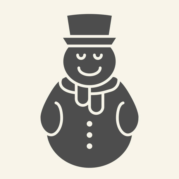 Snowman solid icon. Snowy man with hat and scarf glyph style pictogram on white background. Festive New Year and Christmas greeting card for mobile concept and web design. Vector graphics. Snowman solid icon. Snowy man with hat and scarf glyph style pictogram on white background. Festive New Year and Christmas greeting card for mobile concept and web design. Vector graphics winter weather clip art stock illustrations