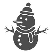 Snowman solid icon, World snow day concept, Snow Man sign on white background, Snowy snowman in hat and scarf icon in glyph style for mobile concept and web design. Vector graphics