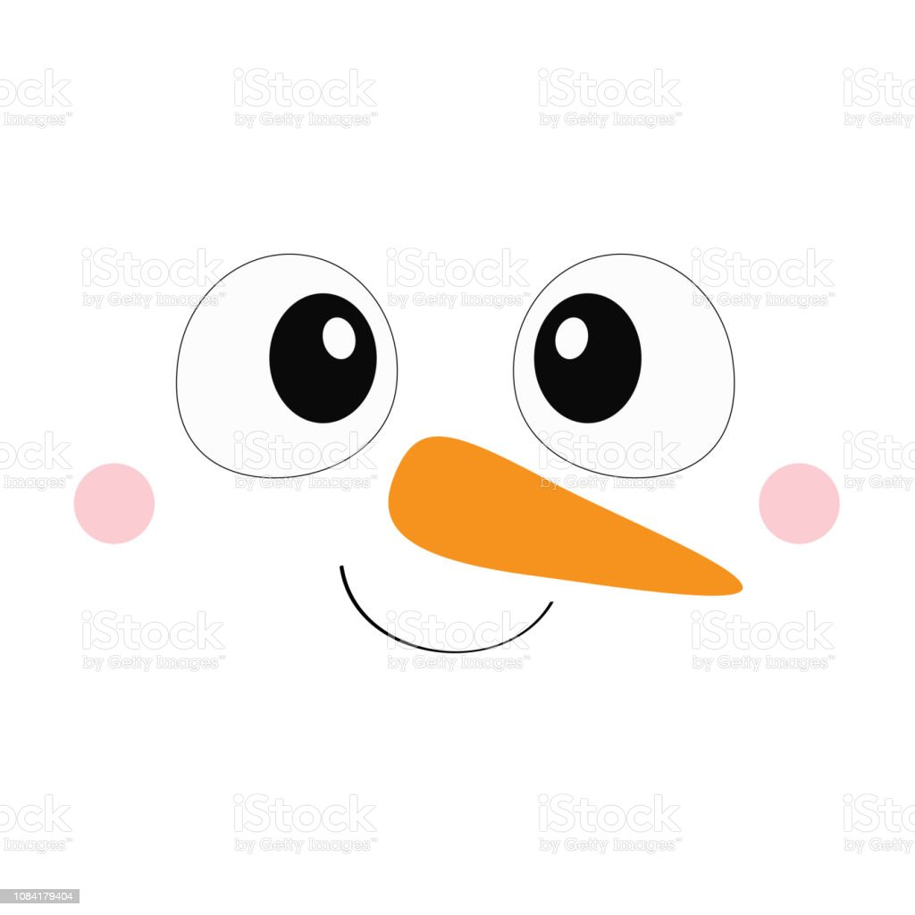 Snowman Square Face Icon Big Eyes Carrot Nose Merry Christmas