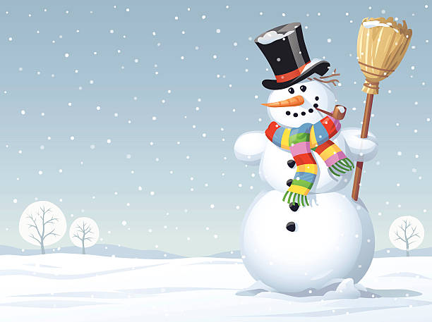 Snowman Standing In A Meadow Vector illustration of a snowman with a colorful scarf, a top hat and a broom standing in a meadow on a snowy winter day.  snowman stock illustrations