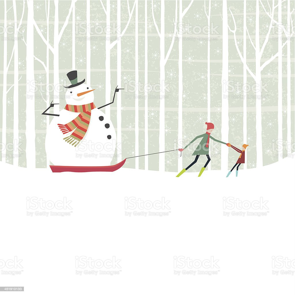Snowman taking a ride on a sledge through the woods vector art illustration