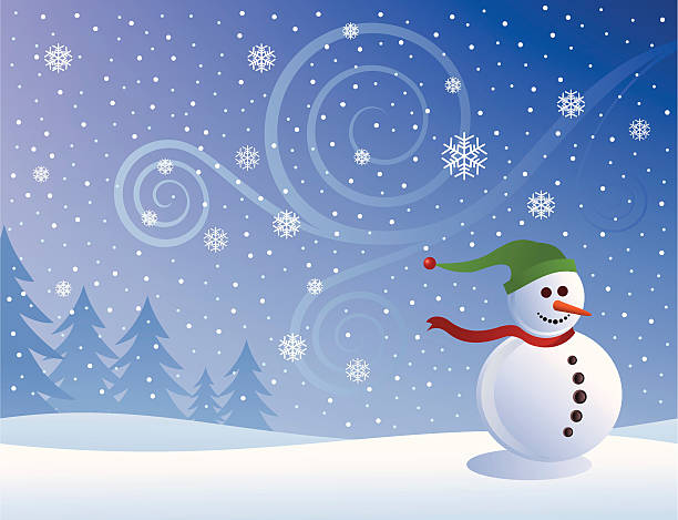 Snowman vector art illustration