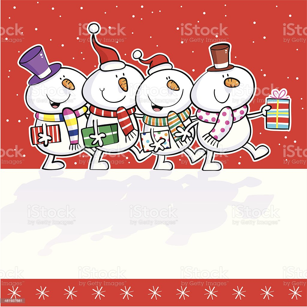 Snowman Walk vector art illustration