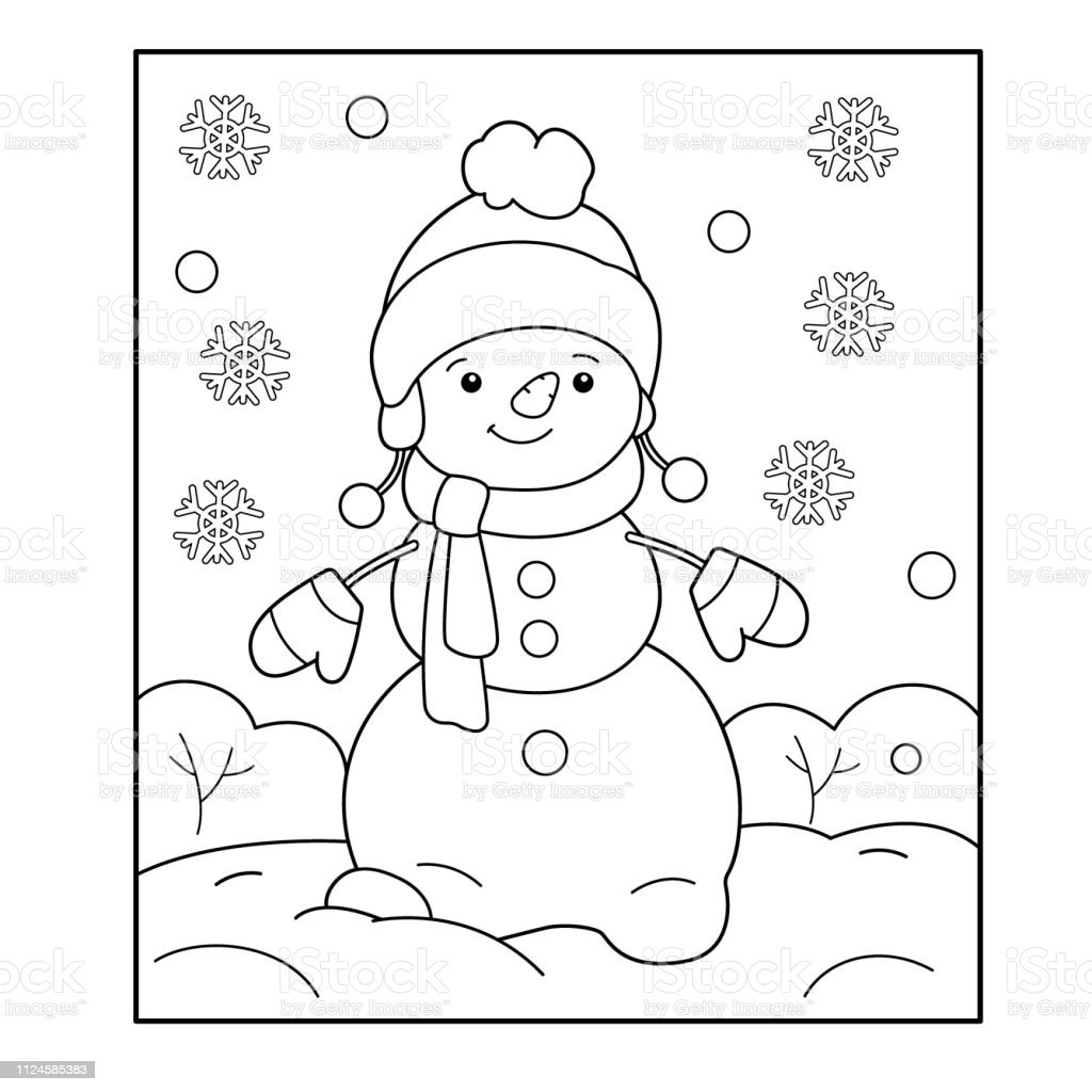 - Snowman Winter Coloring Book For Kids Stock Illustration - Download Image  Now - IStock
