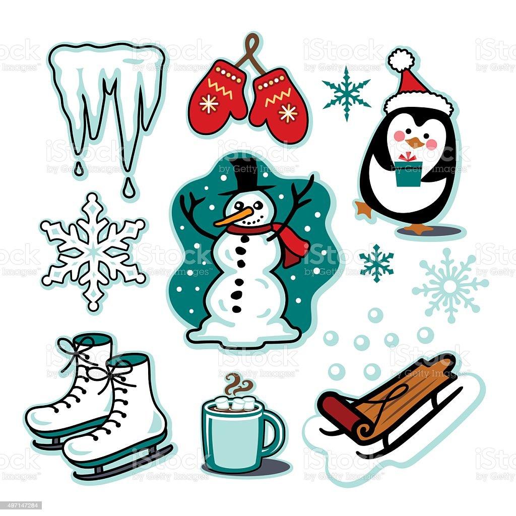 Snowman winter fun illustration set sled ice skates hot cocoa vector art illustration