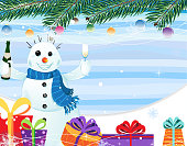 Smiling snowman with a bottle of champagne in his hand on a striped background with gifts. EPS10. Contains transparent objects