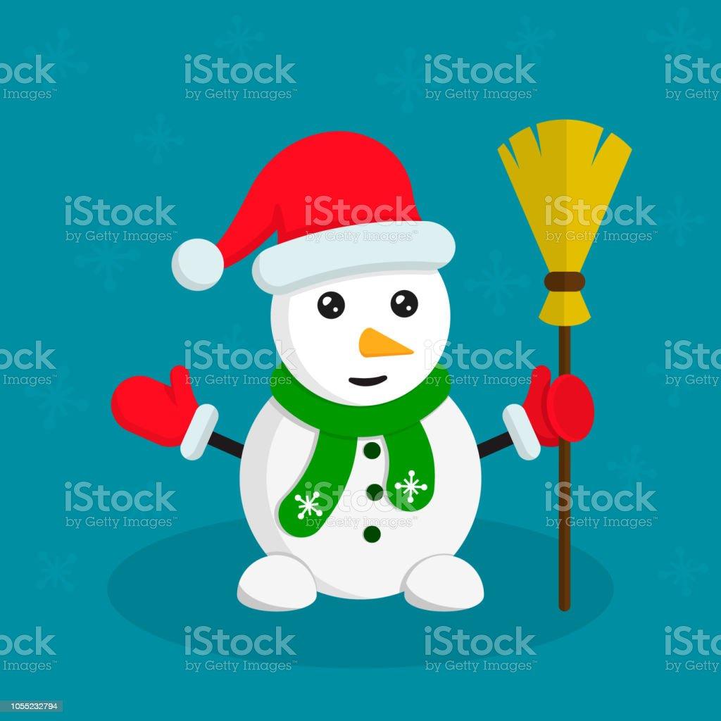 Discussion sur l'étoile du 15 décembre   2018 - Page 9 Snowman-with-broom-vector-color-cartoon-flat-illustration-on-blue-vector-id1055232794