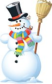 Vector illustration of a smiling snowman with a colorful scarf, a top hat and a broom, isolated on white.