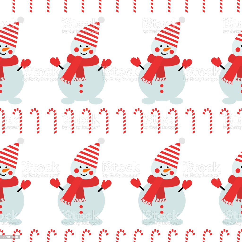 Snowman with candy cane seamless pattern on white background. vector art illustration