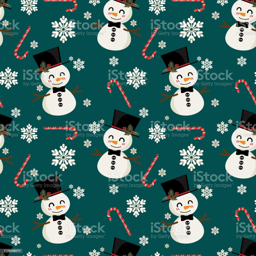 snowman with candy canes and snowflakes seamless pattern cute vector id1170445217