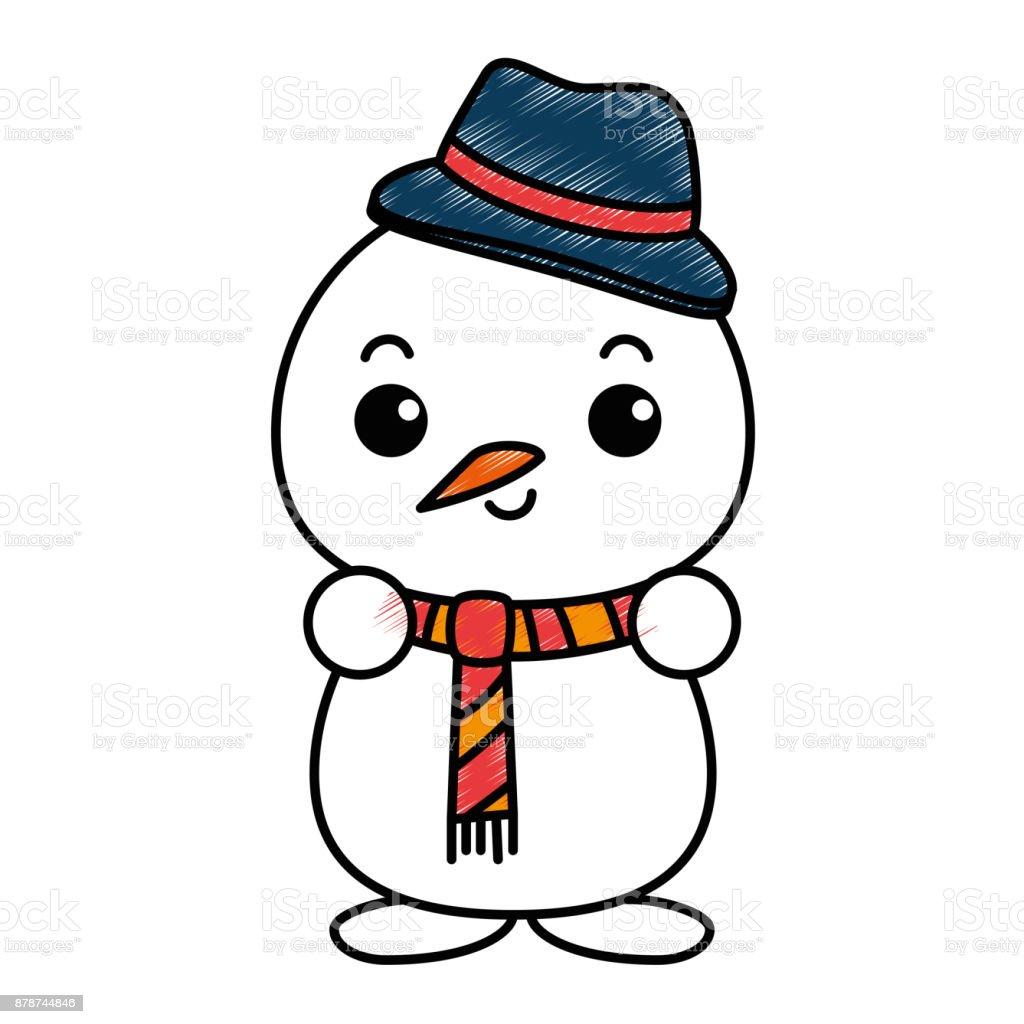 Schneemann Mit Weihnachten Hut Kawaii Charakter Stock Vektor Art und ...