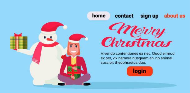 schneemann mit mädchen lotus pose holding verpacktes geschenkbox präsentieren frohe weihnachten neujahr urlaub konzept horizontale textfreiraum flach - karotte peace stock-grafiken, -clipart, -cartoons und -symbole