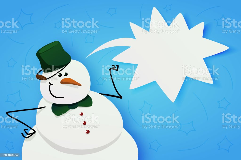 Snowman with green bucket and green bow tie. royalty-free snowman with green bucket and green bow tie stock vector art & more images of bubble