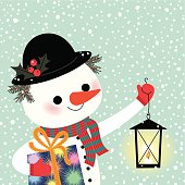 The Snowman holds a Gift and a Lantern.
