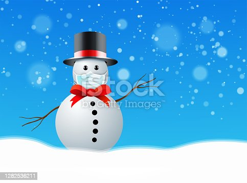 istock Snowman with medical mask agains coronavirus. Vector illustration 1282536211