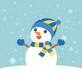 Snowman with mitten, hat, scarf rising arms in snowing background