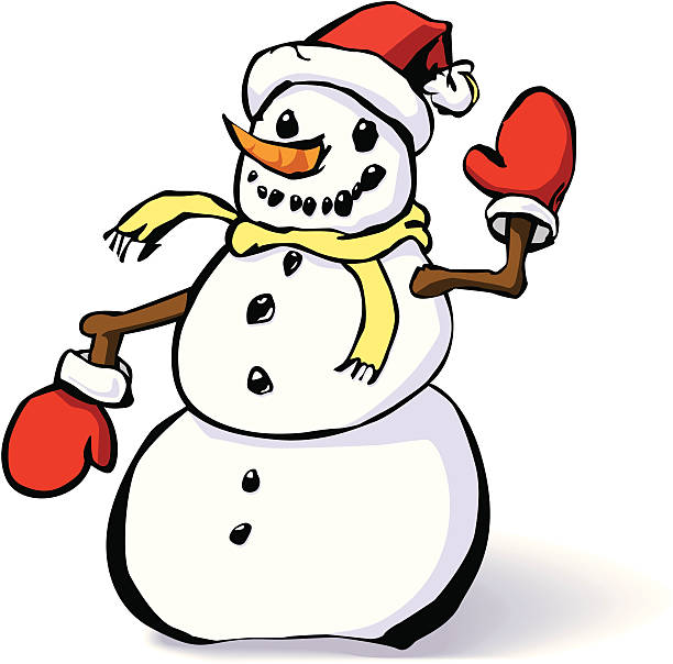 Snowman with mittens and a hat vector art illustration