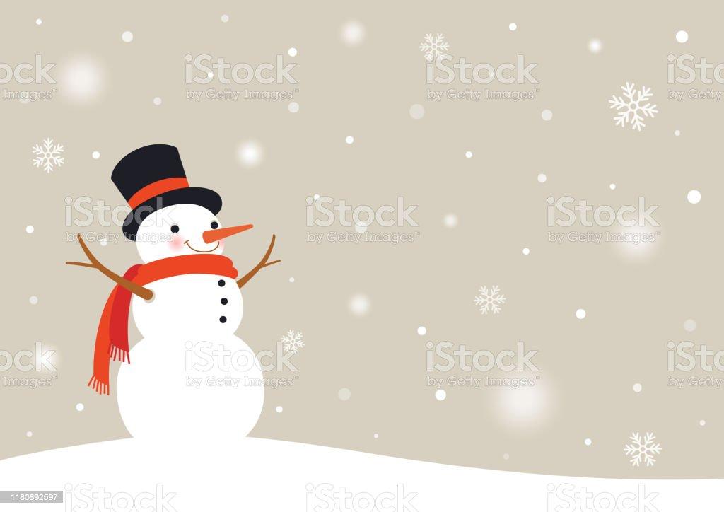 Bonhomme de neige avec des flocons de neige. Fond de jour enneigé d'hiver - clipart vectoriel de Affiche libre de droits