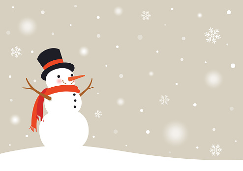 Snowman with snowflakes.Winter snowy day background