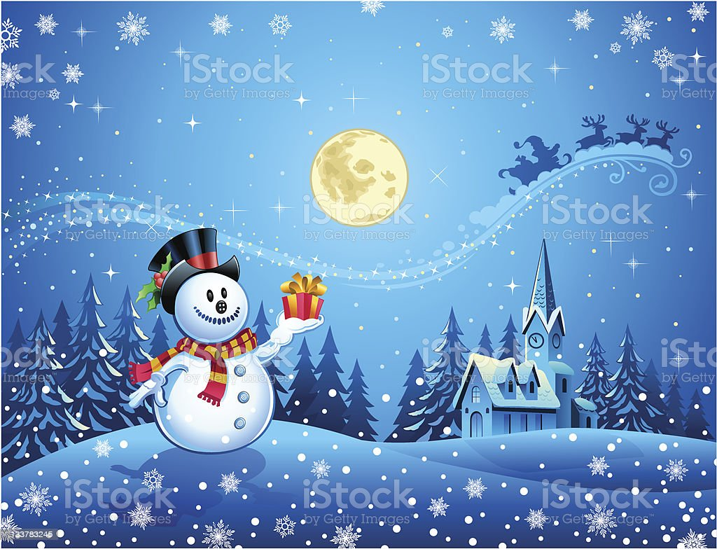 Snowman with the gift vector art illustration