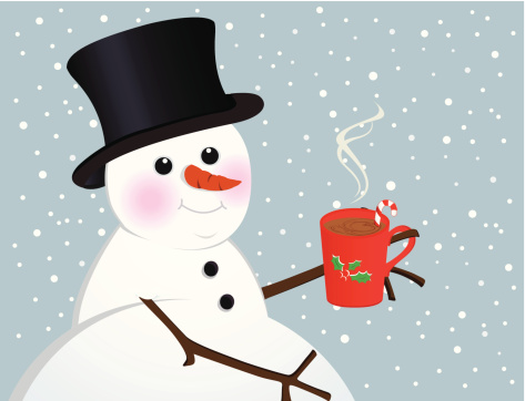 Snowman With Warm Drink