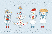 Snowmans and Christmas tree. Christmas and New Year. Winter background. Happy new year. Holiday card template.