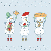Snowmans. Christmas and New Year. Winter background. Happy new year. Holiday card template.